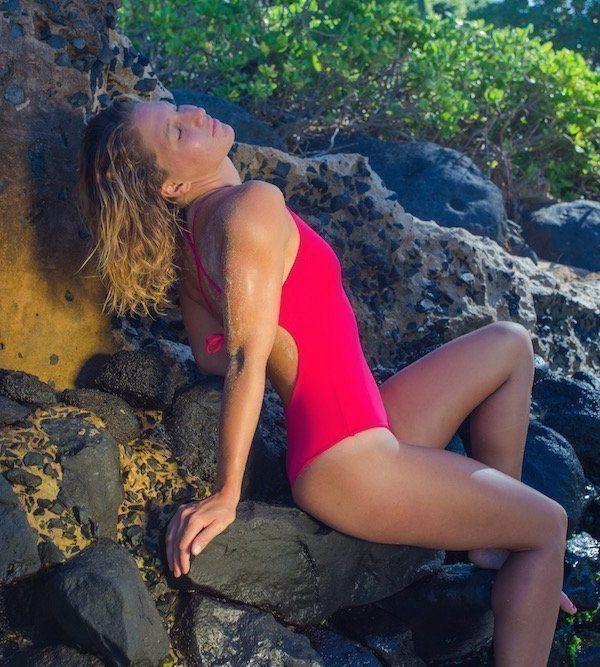 Aloha one piece back side cheery